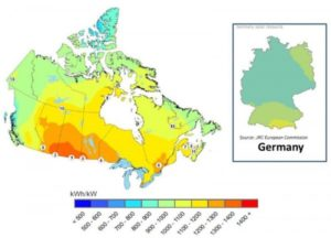 Alberta photovoltaic potential map